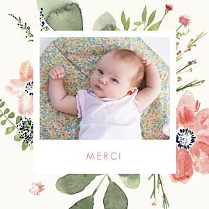 Carte de remerciement rouge petites fleurs aquarelle photo crème