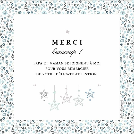 Carte de remerciement Petit liberty origami étoile bleu - Page 2