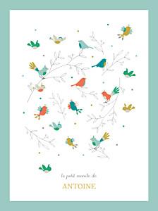 Affiche Oiseaux multicolores bleu