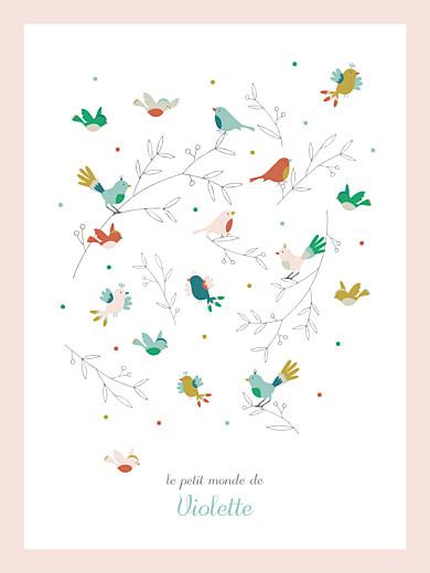 Affichette Oiseaux multicolores rose - Page 1