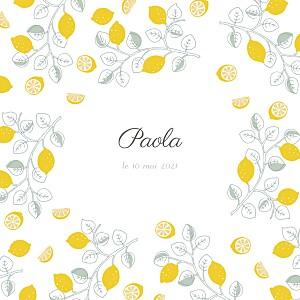 Faire-part de naissance classique citrons 3 photos jaune