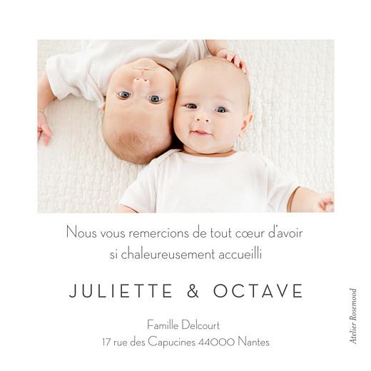 Carte de remerciement Merci petit minois jumeaux jaune & vert - Page 2