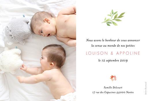 Faire-part de naissance Fleurs aquarelle photo jumeaux crème - Page 2