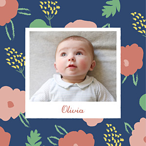 Faire-part de naissance Fleurs pastel photo bleu nuit