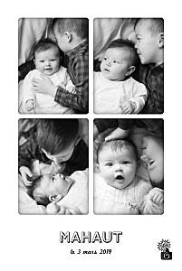 Faire-part de naissance noir instant photos blanc