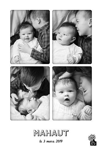 Faire-part de naissance Instant photos blanc