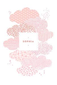Faire-part de naissance sans photo sur un petit nuage rose