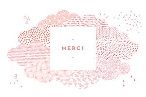 Carte de remerciement mixte merci sur un petit nuage photo rose