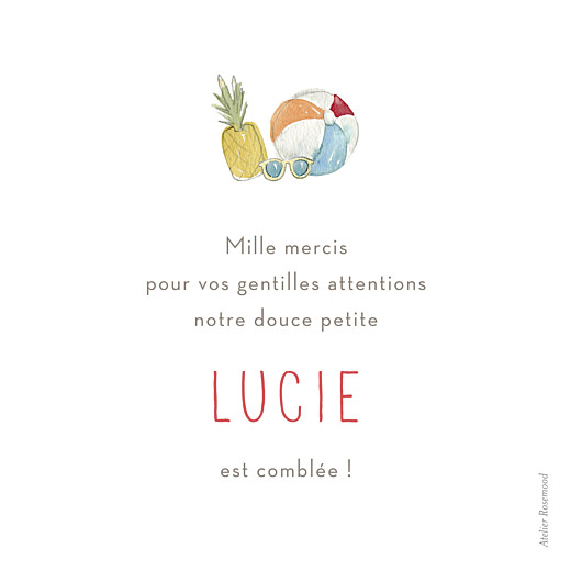 Carte de remerciement Petit hello summer photo blanc