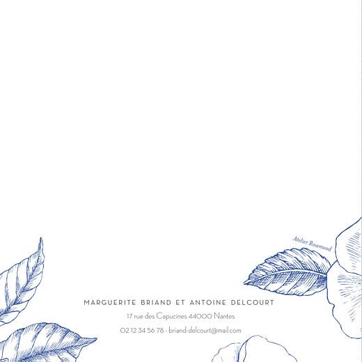 Faire-part de mariage Gravure chic (4 pages) bleu