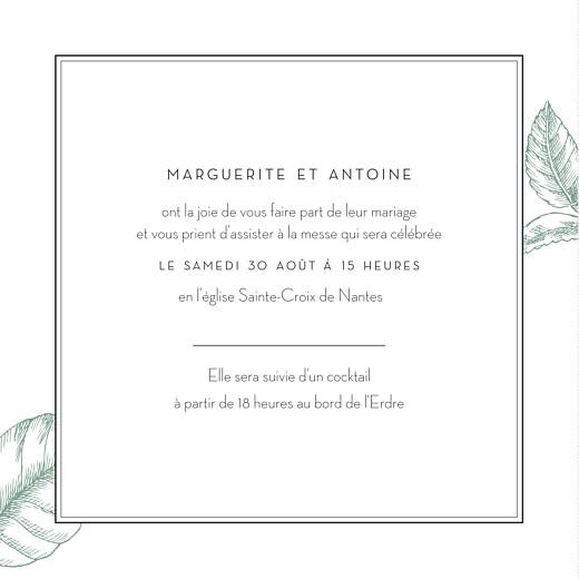 Faire-part de mariage Gravure chic (4 pages) vert - Page 3