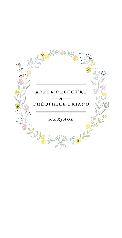 Menu de mariage Instant fleuri blanc finition