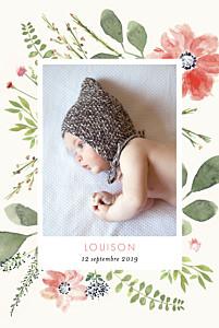 Faire-part de naissance vintage fleurs aquarelle 2 photos rv crème