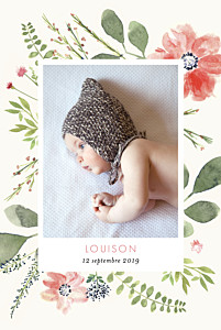 Faire-part de naissance beige fleurs aquarelle 2 photos rv crème