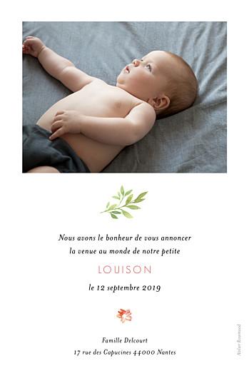 Faire-part de naissance Fleurs aquarelle 2 photos rv crème - Page 2