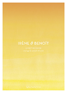 Livret de messe mariage jaune aquarelle jaune