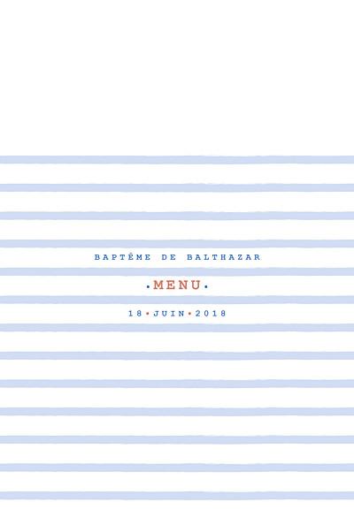 Menu de baptême Marinière bleu finition