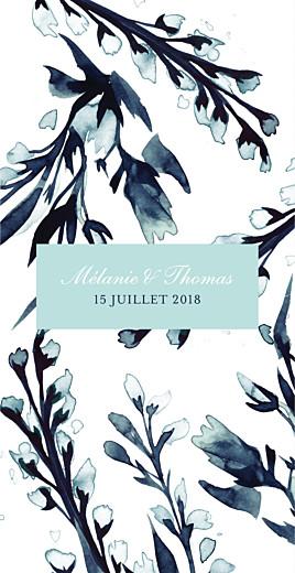 Menu de mariage Bleu de minuit (4 pages) bleu
