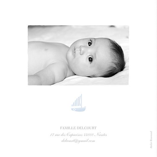 Faire-part de naissance Petit voilier 2 photos bleu layette