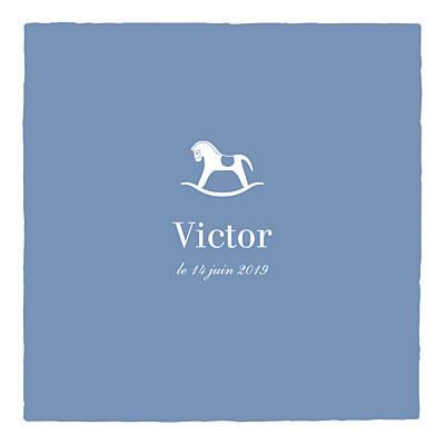 Faire-part de naissance Petit cheval 2 photos bleu wedgwood finition