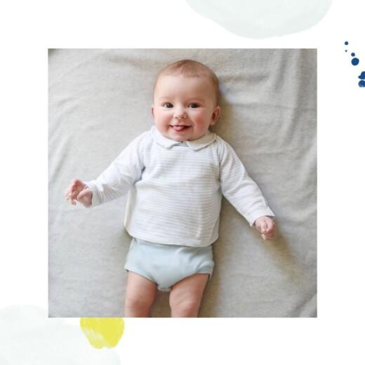 Faire-part de naissance Bulles d'aquarelle (triptyque) bleu-jaune