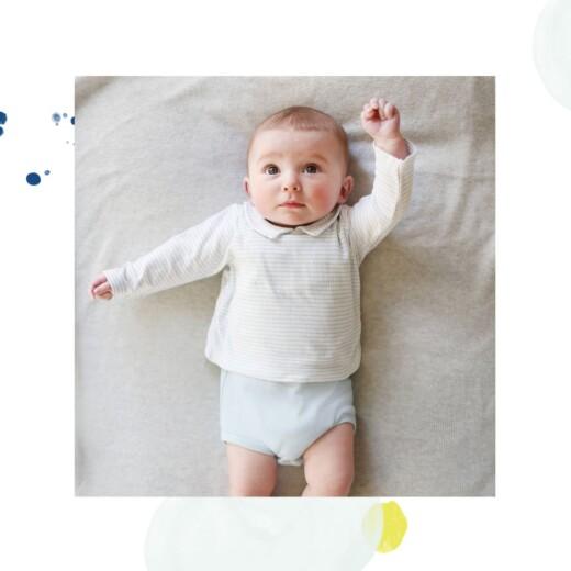 Faire-part de naissance Bulles d'aquarelle (triptyque) bleu-jaune - Page 5