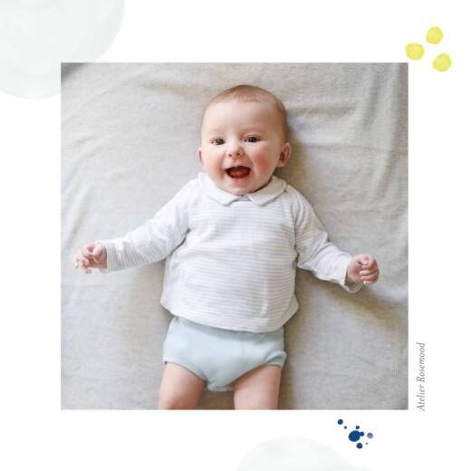 Faire-part de naissance Bulles d'aquarelle (triptyque) bleu-jaune - Page 6