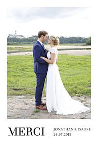 Carte de remerciement mariage Élégant photo portrait blanc