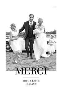 Carte de remerciement mariage blanc moderne chic 1 photo portrait blanc