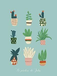 Affiche fille cacti cactus bleu