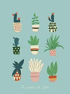 Affichette fille cacti cactus bleu