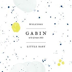 Faire-part de naissance design bulles d'aquarelle (triptyque) bleu-jaune