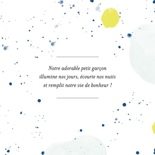 Faire-part de naissance Bulles d'aquarelle (triptyque) bleu-jaune - Page 2