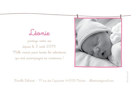 Faire-part de naissance Fil à linge liberty framboise - Page 2