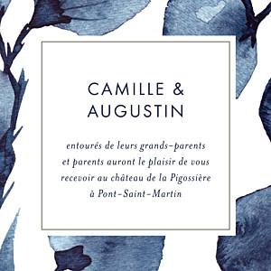 Carton d'invitation mariage bleu ombres florales bleu