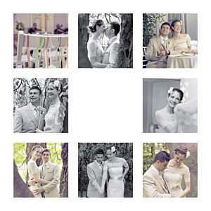 Carte de remerciement mariage moderne simple 8 photos (dorure) blanc