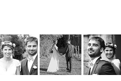 Carte de remerciement mariage Contemporain 3 photos (dorure) blanc finition