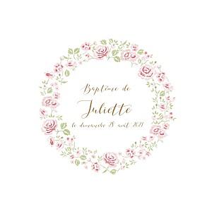 Faire-part de baptême classique couronne de roses blanc