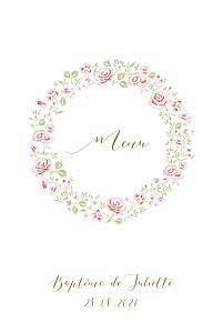 Menu de baptême vintage couronne de roses blanc
