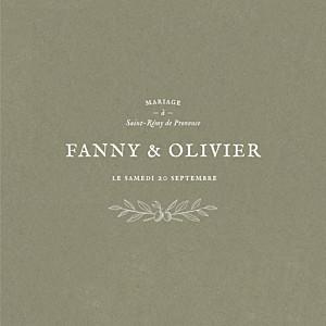 Faire-part de mariage kraft provence (4 pages) olive