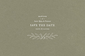 Save the date blanc provence olive