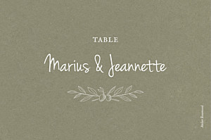 Marque-table mariage blanc provence olive