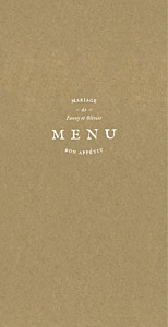 Menu de mariage marron provence kraft