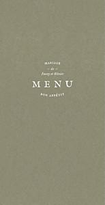 Menu de mariage vert provence olive