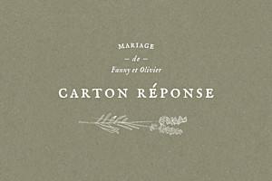 Carton réponse mariage classique provence olive