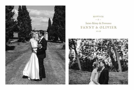 Carte de remerciement mariage Provence kraft