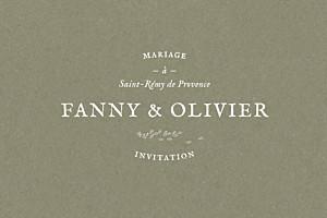Carton d'invitation mariage blanc provence olive