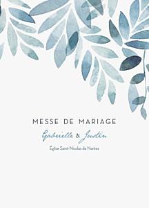 Livret de messe mariage blanc nuit d'été bleu