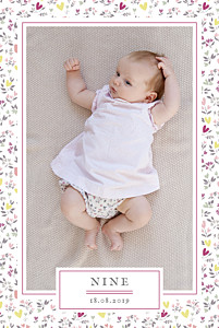 Faire-part de naissance Liberty coeur photo portrait prune