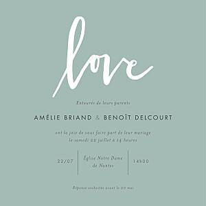 Faire-part de mariage design lettres d'amour vert